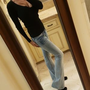 Express Rerock flare 5-pocket jeans, Sz 0